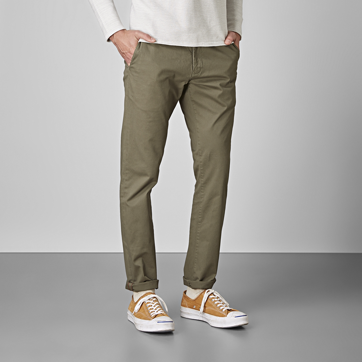 Bowery stretch chinos olivgrön