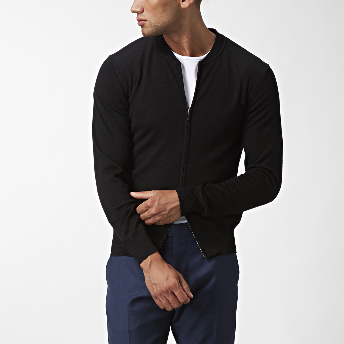 Hunter Zip Cardigan Svart | Riley | Brothers.se