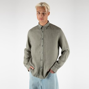 Washed Linen Shirt grön | Ljung | Brothers.se
