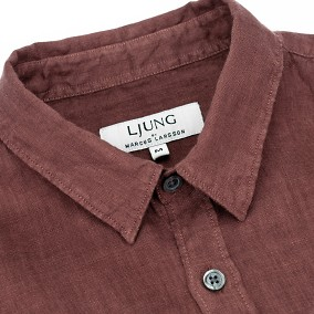 Washed Linen Shirt rostbrun | Ljung | Brothers.se