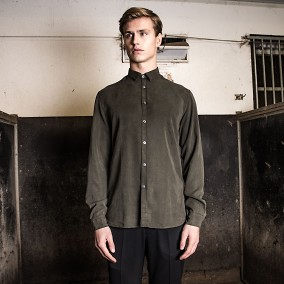 Washed Tencel Shirt Grön | Ljung | Brothers.se