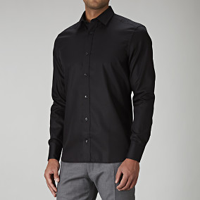 Svart slim fit skjorta | Riley | Brothers.se