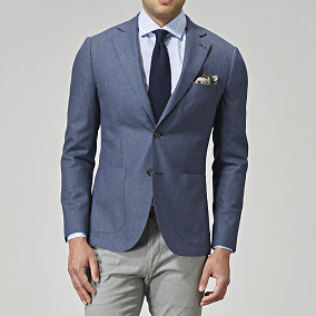 Blazer Sutton Flannel - Blå | The Tailoring Club | Brothers.se