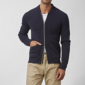Tate Zip Cardigan Blå | East West | Brothers.se