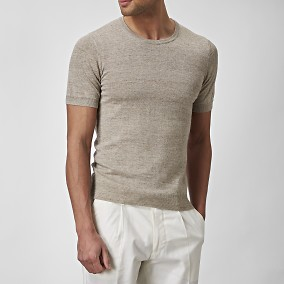 Stickad T-shirt Beige | The Tailoring Club | Brothers.se