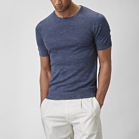 Stickad T-shirt Blå | The Tailoring Club | Brothers.se