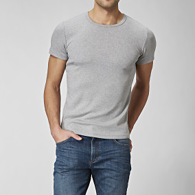 Grå basic t-shirt | East West | Brothers.se